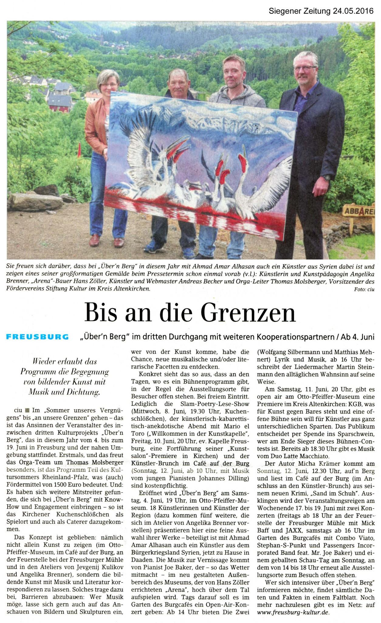 Siegener Zeitung, 24.05.2016, Bis an die Grenzen