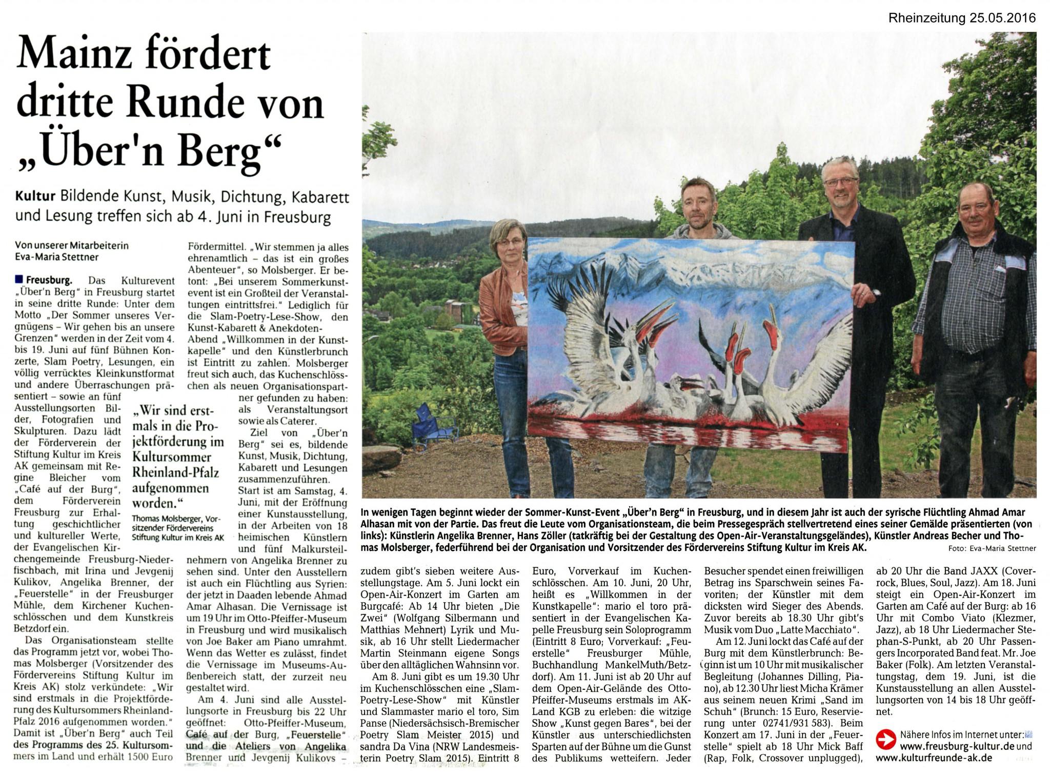 """Rhein-Zeitung, 25.05.2016, Mainz fördert dritte Runde von """"Über'n Berg"""""""